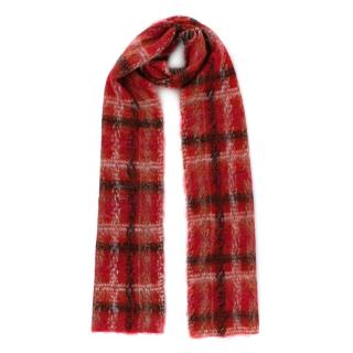 Carven Red Alpaca & Mohair blend Jacquard Checkered Scarf