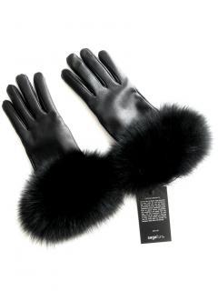 FurbySD Black Fox Fur Trim Leather Gloves