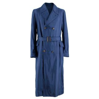 Alexander McQueen Blue Distressed Trench Coat