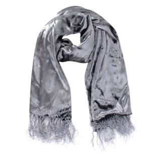 J. Lindeberg Grey Silk Velvet Scarf