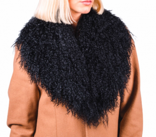 FurbySD Black Mongolian Lambs Fur Collar