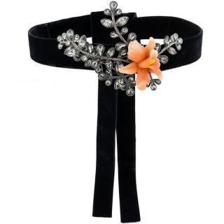 Dsquared2 Black Embellished Secret Garden Velvet Choker