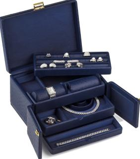 Scatola del Tempo Ostrich Embossed Blue Jewellery Case