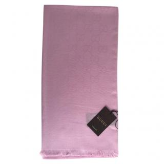 Gucci Pink Wool & Silk Monogram Scarf
