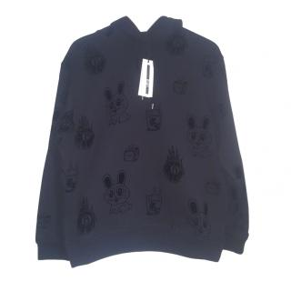 Alexander McQueen Black Flocked Hooded Sweatshirt