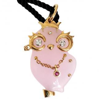 Madame Sapphire & 18ct Yellow Gold Rose Quartz Owl Pendant Necklace