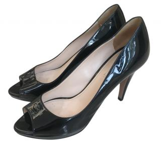 Prada Black Patent Peep-Toe Pumps