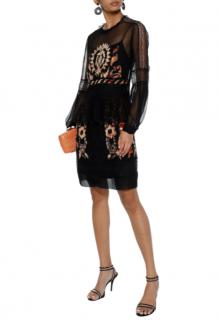 Alberta Ferretti Black Silk Chiffon Embroidered Dress