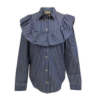 REDValentino Striped Cotton Ruffle Shirt