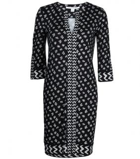 Diane Von Furstenberg Rose Long Black & White Dress