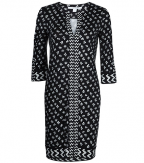 Diane Von Furstenberg Rose Long Black & White Dress