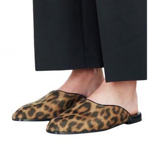 Stella McCartney Leopard Print Faux Calf Hair Mules