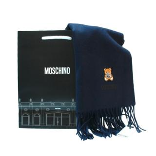 Moschino Navy Merino Wool Teddy Shawl