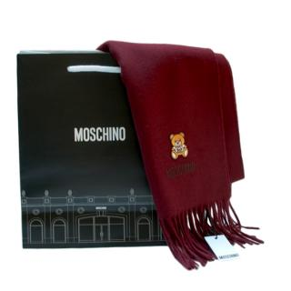 Moschino Merino Wool Burgundy Teddy Shawl