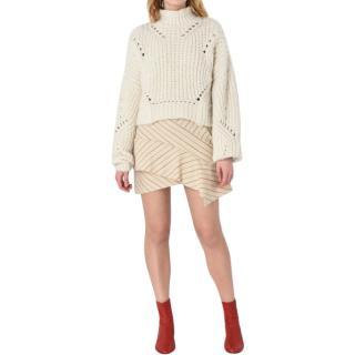 Isabel Marant Ecru Striped Wool Blend Kimura Skirt