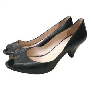 Prada Black Patent Peep-Toe Cone-Heel Pumps