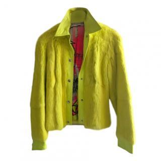 Christian Dior Vintage Yellow Fur & Leather Jacket