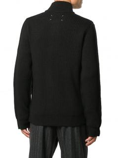 Maison Margiela Charcoal Ribbed Knit Cardigan