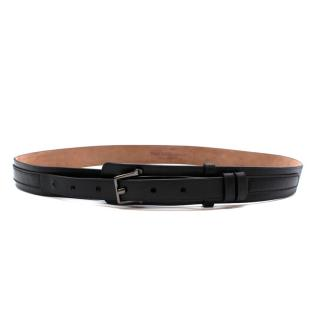 Alexander McQueen Black Leather Belt with Graphite Buckle