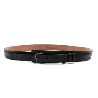 Alexander McQueen Black Leather Belt with Graphite Buckle