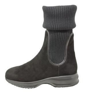 Hogan Suede & Wool Knit Sock Boots