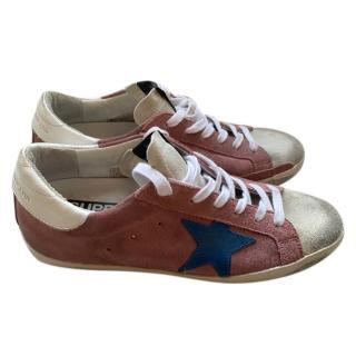 Golden Goose Deluxe Pink Suede Distressed Sneakers
