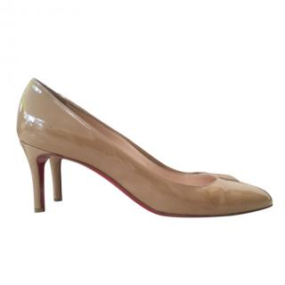 Christian Louboutin Nude Low Heeled Patent Pumps