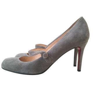 Christian Louboutin Grey Mary-Jane Pumps
