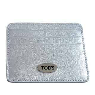 Tod's Metallic Silver Card Case