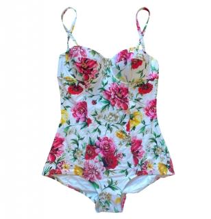 Dolce & Gabbana Floral Print White Balconette Swimsuit