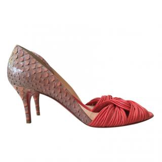 Christian Louboutin Python & Knotted Leather Pumps