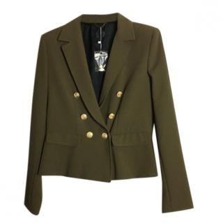 Max Mara Green Double Breasted Frilled Tailored Jacket