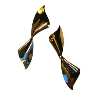 Christian Dior Vintage Gold Bow Earrings