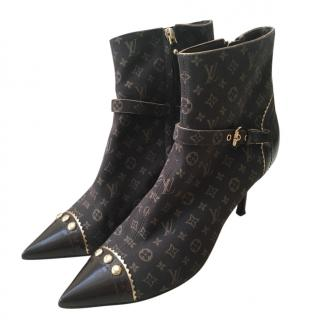 Louis Vuitton Black Monogram Canvas & Leather Vintage Ankle Boots