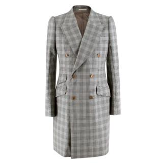 Alexander McQueen Double Breasted Micro Houndstooth Coat