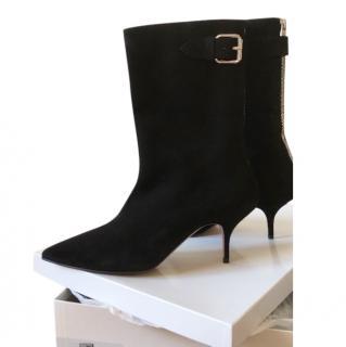 Max Mara Black Suede Buckle Detail Boots