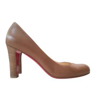Christian Louboutin Dark Beige Pumps with Wooden Heel
