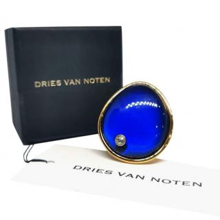 Dries Van Noten Blue Crystal Cocktail Ring