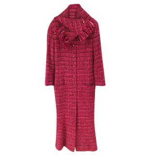 Chanel Red Boucle Tweed Longline Coat & Scarf
