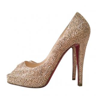 Christian Louboutin Crystal Embellished Lady Peep Pumps