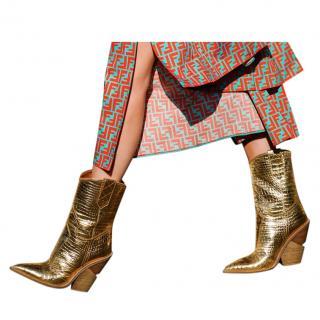 Fendi Gold Mock Croc Cowboy Boots