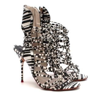 Sophia Webster Black & White Strappy Heeled Sandals
