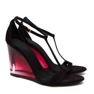 Burberry T-Strap Suede Plexi Wedge Sandals