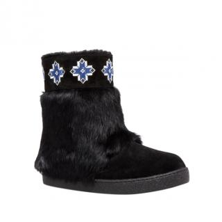 Tory Burch Lafayette Embroidered Fur Booties