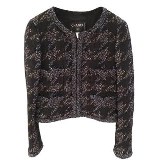 Chanel Houndstooth Tweed Tailored Jacket