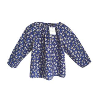 Bonpoint Kids Squirrel Print Blue Blouse
