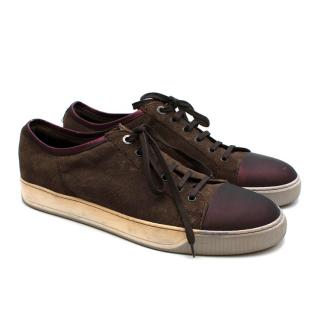 Lanvin Brown Suede Cap-Toe Lace-Up Sneakers