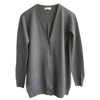 Prada Sport Charcoal Virgin Wool Knit Cardigan