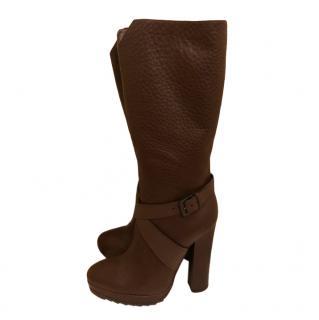 Bottega Veneta Brown Grained Leather Buckle Detail Knee Boots
