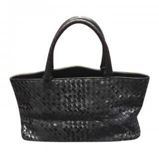 Bottega Veneta Black Matte & Glossy Leather Intrecciato Tote Bag